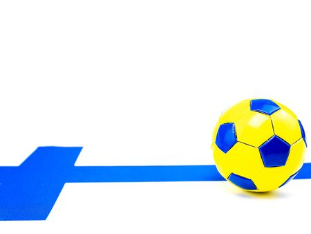 Soccer ball on the background of the flag of Finland. Championship. Europe. World. Place for text. Background image.