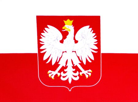 State flag and coat of arms of Poland on a white background. Independence Day of Poland. Elections. Voting. Place for text. Background image.