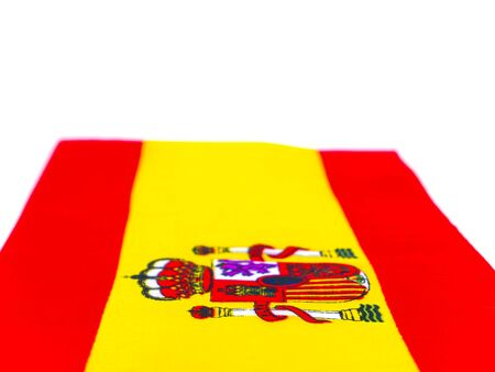 State flag of Spain with coat of arms. Day of Spain. Place for text. Background image. Elections. Voting. Voter.