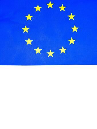 European Union flag on a white background. Place for text. Voter. Voting. Background image.