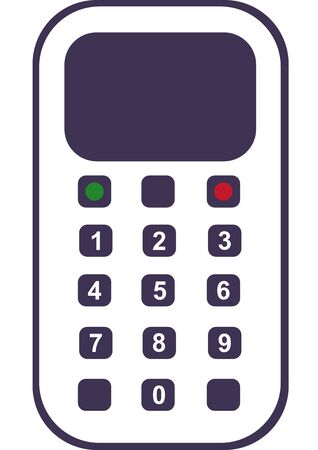Mobile phone with buttons on a white background. Mobile connection. Make a call. Phone call. Vector. Place for text. Communication. Conversation. Background image. Template. Vector Illustratie