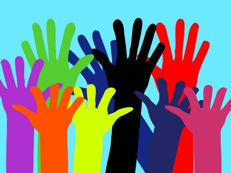 Hands of people of different colors are raised to the sky. Vector. Abstraction. Place for text. Template. Background image.