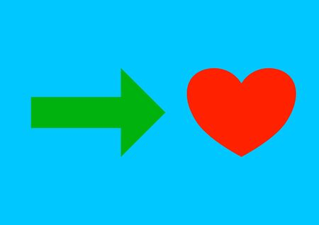 The arrow indicates the path to the heart. The relationship of people. Valentine's Day. The path to the heart. Love relationship. Place for text. Vector. Ilustração