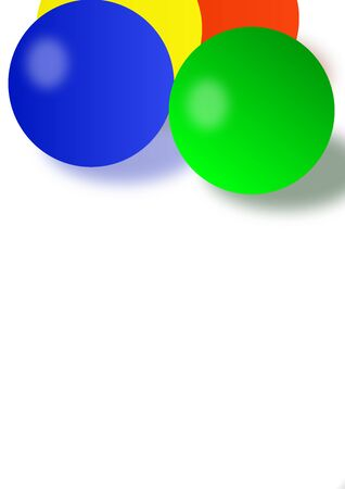 Template for text round colored balloons on a white background. Poster. Booklet. Background image. Place for text. Billiards. Circus. Vector image.