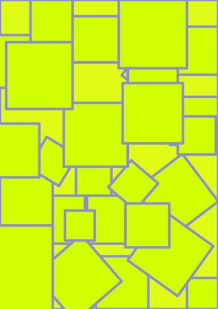 Template for the text green squares on a yellow background. Cube Poster. Booklet. Place for text. Background image. Vector.