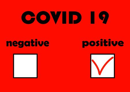 Form for the results of medical tests of the coronavirus COVID 19. Epidemic. Pandemic. Negative analysis. Positive analysis. Vaccine. Viral disease. Laboratory analysis. Template for text. Ilustración de vector