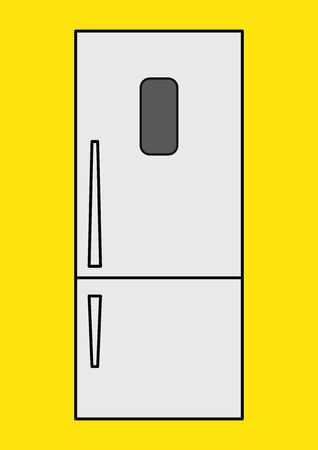 Vector image of a household refrigerator with place for text. Household appliances. Two-chamber refrigerator. Place for text. Repair of household appliances. Repair of refrigerators. Shop window.