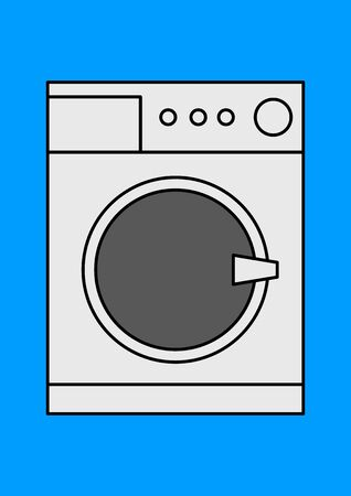 Vector image of a washing machine place for text. Household appliances. Household washing machine. Place for text. Repair of household appliances. Repair of washing machines. Shop window. Site. Stock Illustratie