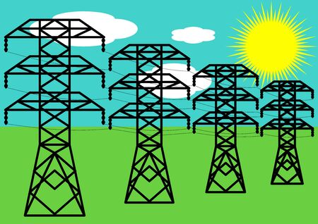 Towers transmission line transmission of electrical energy. High voltage. An electrician. Dangerous high voltage. Industrial technology. Place for text. Energy business. Vecteurs