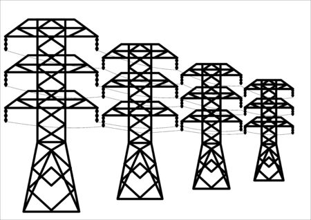 Towers transmission line transmission of electrical energy. High voltage. An electrician. Dangerous high voltage. Industrial technology. Place for text. Energy business.