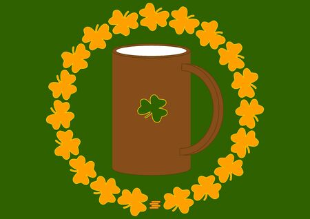 A mug of ale with a green leaf of fern on St. Patrick's Day. St.Patrick 's Day. Holiday. Template for text. Place for text. Background vector image. Poster. Advertising on the billboard.