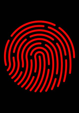 Biometric fingerprint to identify a person. Safety. Security. Template for text. Security technology. Criminal Examination. Poster. Crime control. Police.