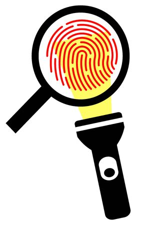 Biometric thumbprint magnified through a magnifying glass. Safety. Law and order. Template for text. Crime investigation. Criminal Examination. Poster. Police.