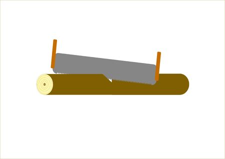 A saw cuts a tree trunk on a tree. Joiner's tool. Garden tools. Two-handed saw on wood. Vector image. Template for text. Poster. Background image.