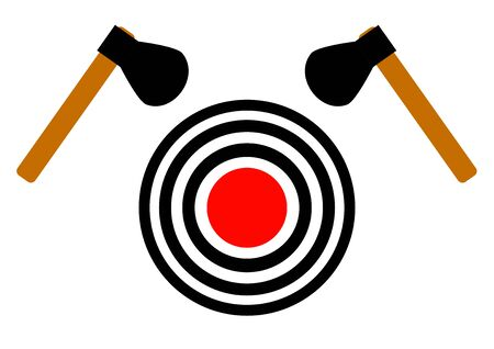 Ax throwing target on a white background. Carpentry tool. Joiner's tool. Poster. Background vector image. Place for text. Sport. Vektoros illusztráció