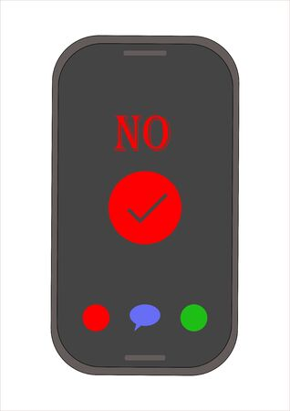 Touch buttons confirm the action on the smartphone. Mobile phone. Technologies. Template for text. Poster. Yes or no. Background vector image. Vettoriali