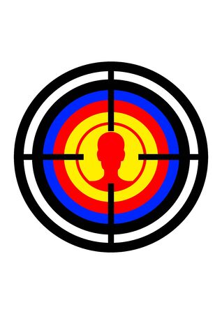 A target with a man head in the sight of a weapon. Shooting range for firing weapons. War. Shoot from a weapon at a person. Template for text. Poster. Place for text. Background vector image. Vector Illustration