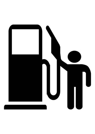 Road sign pointer car refueling on a white background. Petrol refueling. Diesel refueling. Template for text. Vector image. Poster. Background image.