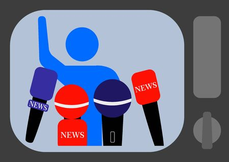 Audio correspondent microphone for interviewing in the news. TV news. Press conference. Freedom of speech. Mass media. Voice recording by microphone. Audio technology. Vectores