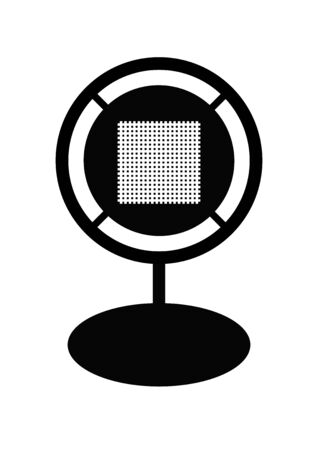 Retro microphone for voice recording on a white background. Commentator. News. Radio and television. Background image. Place for text. Poster. Outdoor advertising. Template for text. Abstraction. Иллюстрация
