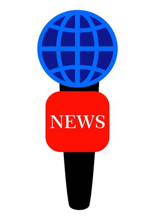 Correspondent microphone for recording world news interviews. Commentator. News. Radio and television. Background image. Place for text. Poster. Outdoor advertising. Template for text. Abstraction. Иллюстрация