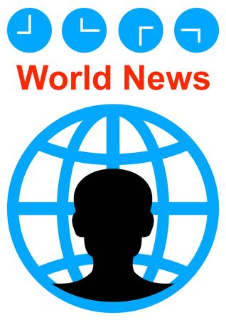 Template for the text of the world news program. Commentator. News. Radio and television. Background image. Place for text. Poster. Outdoor advertising. Template for text. Abstraction. Иллюстрация
