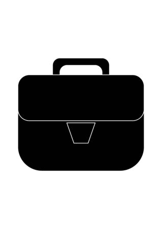 Black briefcase of an office worker on a white background.