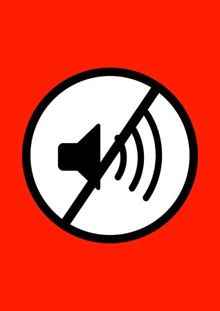Audio speaker with a black stripe sign. Be quiet. Pointer. Prohibition sign. Poster. Advertising on the billboard. Place for text. Template. Vector background image.