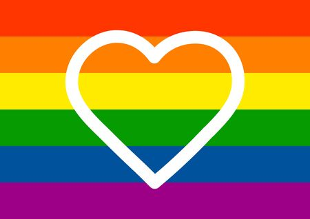 Heart in the colors of the rainbow flag of minorities. Lisbians. Homosexuals. Bisexual Symbol of masculinity. Symbol of the feminine. Template for text. Poster. Gay sex. Same-sex marriage.