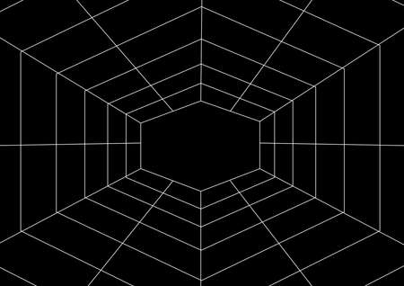Spider web pattern with place for text. Insect. Internet network. Web Halloween holiday. Poster. Template for text. Vector. Background image. Abstraction. Black and white. Horror. Ilustração