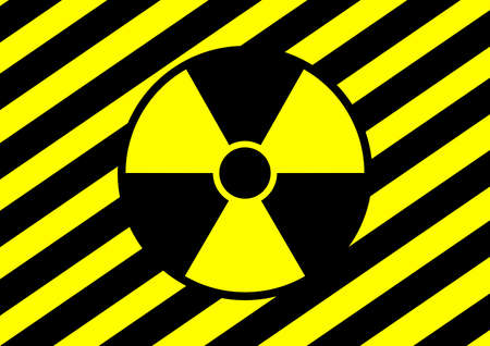 Warning sign attention radioactive area is dangerous. Chernobyl Fukushima. Atomic Energy. Nuclear power plant. Good for life. Nuclear weapons. Nuclear war. Science lab. Stop. Vettoriali