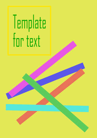 Colored stripes on a yellow background vector template for text.