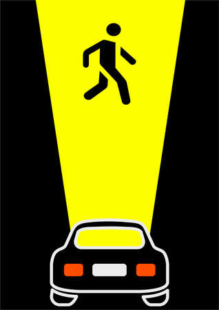 Pedestrian crossing in the light of car headlights at night. Road signs. Night driving. Traffic Laws. Template with place for text. Avisha. Booklet. Background vector image. Illusztráció