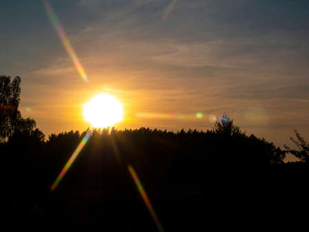 Sunset rays on the forest horizon. Cloudy evening sky. Forest background. Natural landscape. Night horizon Background image. Background image. Black shadows.