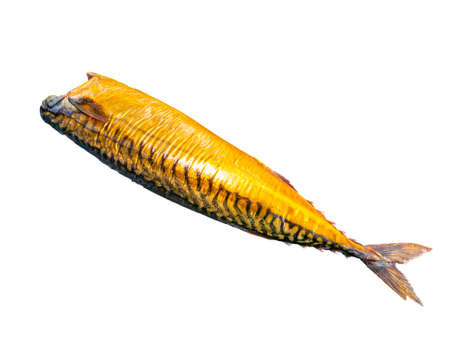 Smoked mackerel fish on a white plate. Salted mackerel fish. Canned food. Food photo. Recipe. Menu of dishes. Vegetarian food. Home kitchen. Fishing. Background image. Place for your text. Stock fotó