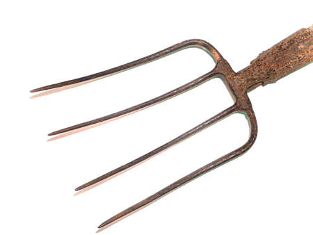 Iron pitchfork with wooden handle hand tools.
