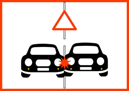 Traffic warning sign attention road traffic accident. Collision of two cars on the road. Wheeled vehicle accident. Warning sign. Place for your text. Background image. Poster. Booklet. Vector.