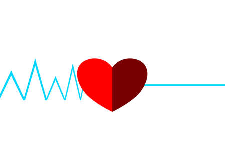 Medical cardiogram of the heart of a dying person. Cardiology. Myocardial infarction. Fatal heart attack. Health and medicine. Heartbeat. Heart symbol. Place for your text. Poster. Booklet. Vector