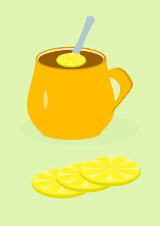 A cup with hot tea and lemon wedge. Lemon tea in a ceramic cup. Have a hot drink. Fruit drinks. Ethnoscience. Kitchen dishes. The spoon. Slice of fruit. Vector image. Poster. Place for your text.