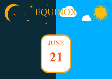 Day of the natural equinox of day and night. Summer solstice. Winter solstice. Equinox of sun and moon. Moving planets. Summer and winter are seasons. Calendar days. December. June. Vector.