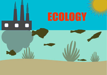 Pollution of water bodies by industrial waste emissions. Dead fish. Endangered fish species. Ecological catastrophy. Environmental pollution. Smoking chimneys of the plant. Poster. Place for text.