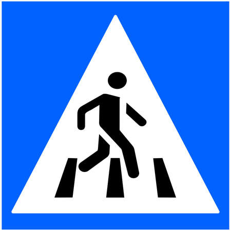 Road sign pointer to pedestrian crossing vector image. Traffic Laws. A road sign with a picture of a person. Attention pedestrian crossing. Driving. Vector. Background image. Place for text. Poster.
