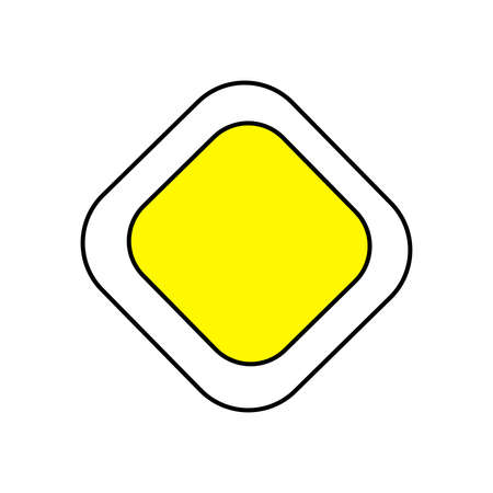 Road sign pointer to main road vector image. Traffic Laws. Road sign with a main road. Attention, make way. Driving. Vector. Background image. Place for text. Poster. Illusztráció