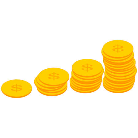 Gold coins with the American dollar symbol. The monetary unit of America. American dollar. Changeable currency. Exchange Rates. Financial exchange. Cash. Banking and finance. Business. Wage.