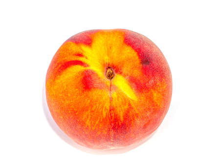 Red peach fruit on a white background. Harvesting fruit orange peaches. Agriculture. Food photo. Sweet food. Vitamins. Peach juice. Fruit shop showcase. Place for your text. Background image.