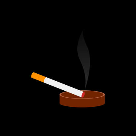 A smoking cigarette in an ashtray on a black background. Illustration