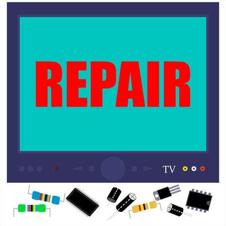TV repair service vector template for text. Illusztráció