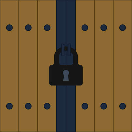 Padlock with keyhole for doors vector image. Door padlock. Turnkey keyhole. Door locks. Home safety. Protection of premises. Open or close the lock. Place for text. Poster. Booklet. Billboard.