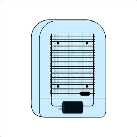 The back of a retro refrigerator with a repair unit. Refrigerator repair. Service of climatic equipment. Service center. Master repairman. Refrigeration equipment unit. Refrigeration compressor. Illusztráció