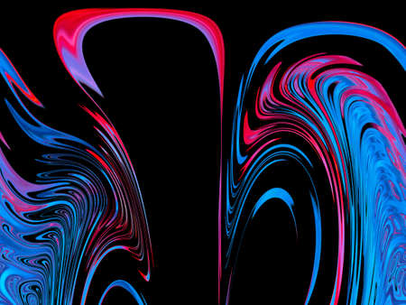 Abstract illustration of red and blue distortion of outer space. Blue and red streaks on a black background. Spirals of galaxies. Fantastic illustration. Space. Astronomy. Background image. Standard-Bild